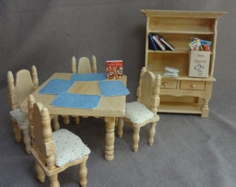 Six Piece Antiqued Cream Dining Set with Blue Print Fabric