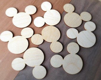 12 Pieces- Craft Wood Shapes Mickey Mouse