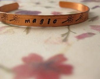 Hand-stamped metal cuff bracelets