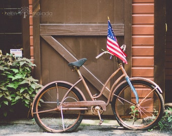 bicycle photograph, patriotic bicycle, vintage antique bicycle, 13 star american flag, home decor, home wall art