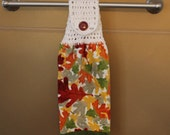 Leaf Toss Crocheted Top Towel-KOW55