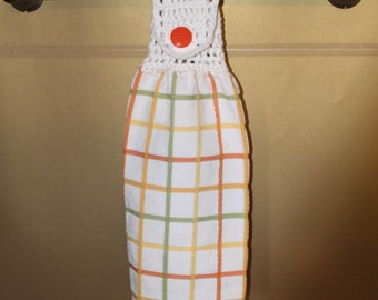 Yellow, Orange, and Green Woven Checked Crocheted Top Towel-KOW54