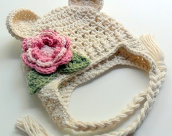Baby Girl Hat, Crochet Earflap Hat, Girls Crochet Hat, Toddler Winter Hat, Infant Hat, Newborn Hat, Cotton Baby Hat, Custom, Cream, Pink