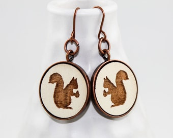 Squirrel Earrings - Laser Engraved Wood (Cream)