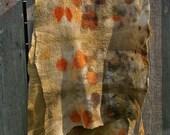 Wool nuno felted scarf Plant dyed