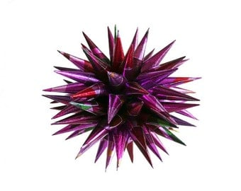 Purple Christmas Ornament Handcrafted Paper Polish Star Jeżyk Hedgehog Porcupine Ball Decoration Small Spiky Ornament - Purple Plaid, 3 inch