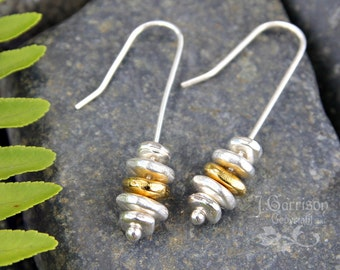 Stacked pebbles earrings - sterling silver hooks - silver and 22k gold plated pewter pebbles - free shipping in USA