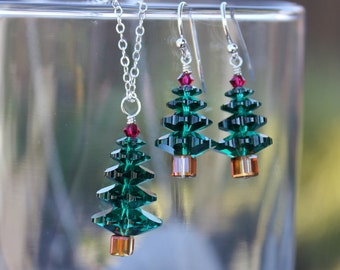 Emerald and Ruby Christmas tree sterling silver necklace & earring set - green and red Swarovski crystals - jewelry set - free shipping USA
