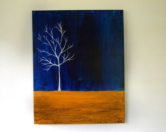 Blue from the White Series II - Original Modern Canvas Painting - 16 x 20 - Nicole Dietz OOAK