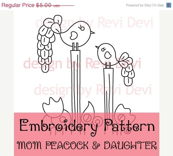 Items Similar To Mom Peacock And Daughter 15054 Cute Embroidery