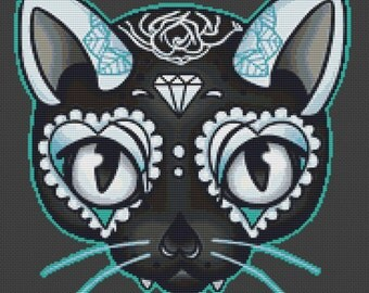 Cat Cross Stitch Kit, Miss Cherry Martini, Day of the Kitty Blue, Tattoo Art Needlecraft with DMC Materials, Counted Cross Stitch Pattern