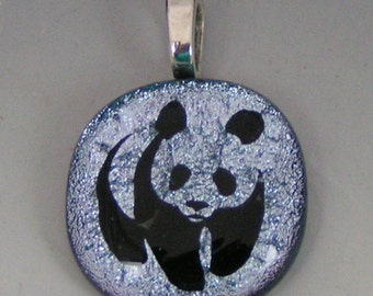 Silver Panda Pendant Dichroic fused glass jewelry w/ cord