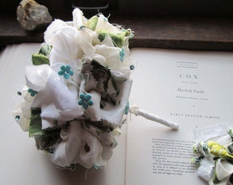 Handmade Vintage Fabric Flower Bouquet / Wedding Bouquet