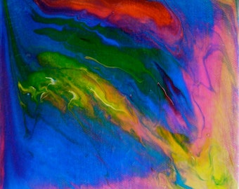 """Acrylic Painting, """"Liquidity,"""" 6x6 Acrylic Abstract, Blue, Green, Pink, Yellow, Red"""