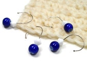 Removable Stitch Markers Set, Crochet, Knitting, Snagless, Beaded, DIY Crafts, Navy Blue, White, Gift, TJBdesigns