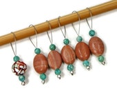 Beaded Stitch Markers, Snag Free, Caramel, Brown, Teal, DIY Knitting Supplies, Snagless, Gift for Knitter, Craft Supplies