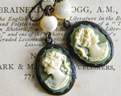 Fallen Angel Brass Cameo Vintage Mother of Pearl Bead Earring