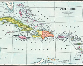 Antique Map of the West Indies. From 1906 Atlas