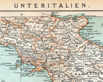 Antique Map of Southern Italy. Printed in 1894
