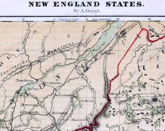 1866 Antique Hand-colored Map of the New England States