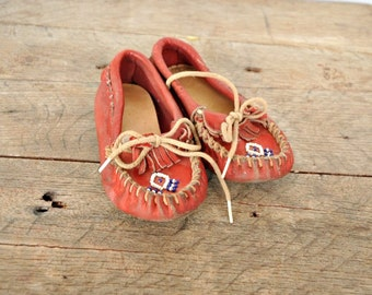 Children's Vintage Red Leather Moccasins with White and Blue Beading - Use For Display