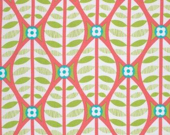 COUPON Code Sale - Free Spirit Fabric, La De Da, Buttonwood, Coral, Erin McMorris, 100% Cotton Quilt Fabric, Quilting Fabric, END of BOLT