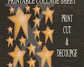 Primitive Star Collage Sheet , Printable Sheet 8.5 X 11