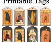 Primitive Tags Printable 8 Per Sheet , Digital Harvest Crow Pumpkin Scarecrow Corn