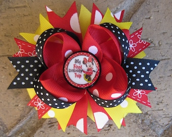 My First Disney Trip Minnie Mouse Inspired Custom Boutique 3 Layer Hair Bow for Disney World Vacation Mickey Mouse Clubhouse