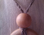 Mommy Nursing Necklace Teething Necklace Breastfeeding Necklace Wood Ring and Heather Gray Hemp Chain Stitch Boho Chic :)