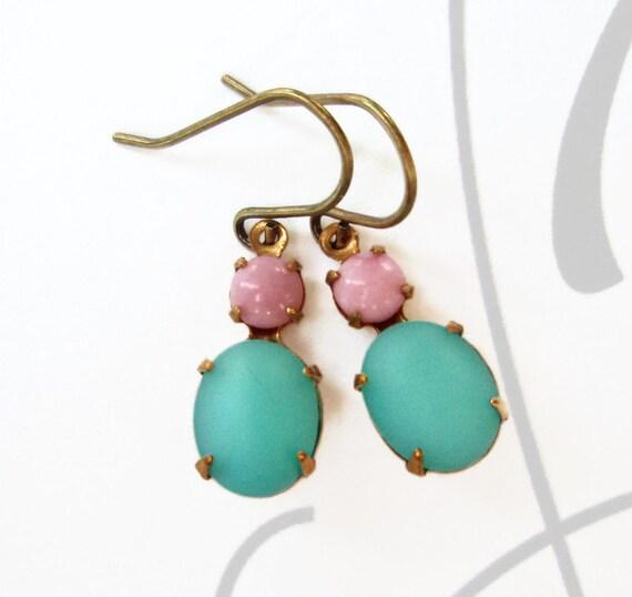 Dainty Earrings Aqua Blue Crystal Earrings Victorian Jewelry Downton Abbey CHERIE Aqua