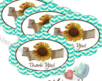 "Oval Sunflower ""Thank You"" stickers - set of 50"