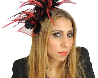 Black and Red Pangolin Fascinator  Hat for Weddings, Occasions and Parties With Headband