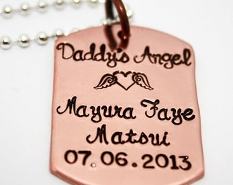 Daddy's Angel with Angel Heart Dog Tag - For Him