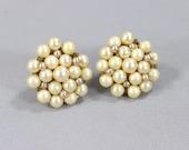 Vintage 1960's Earrings / Faux Pearl Clip On Earring / Mid Century Jewelry