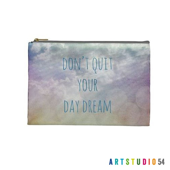 "Don't Quit Your Day Dream - Sky, Clouds on a Pouch, Make Up, Cosmetic Case, Travel Bag, Pencil Case - 9""X 6"" -  Large -  Made by artstudio54"