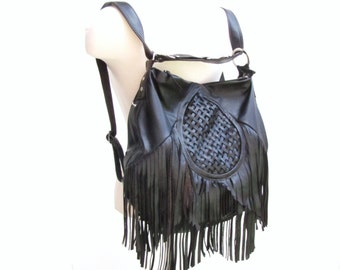 kelly hermes bag - Tan leather fringe purse Bohemian backpack and by Versabella
