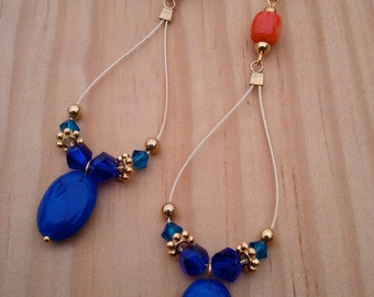 Cobalt Jade/ Coral Accent Teardrop Earrings