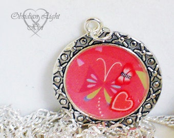 Of Butterflies and Heart Resin Pendant
