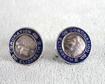 Coronation Elizabeth II Earrings Sterling Enamel Vintage