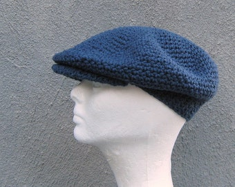 crochet driver's cap/ denim blue cotton- made to order