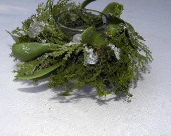 1 Fern Moss-Mistletoe and faux cedar votive holder-Holiday votives-Christmas votives