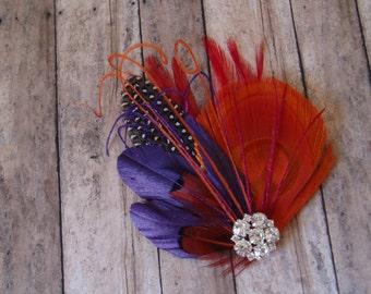 Wedding Hair Piece Hairpiece Bridal Headband Head Piece Hair Comb Feather Fascinator ORANGE PURPLE