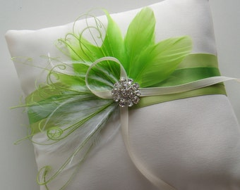 Ring Bearer Pillow Wedding Pillows Lime Green Accessory ring holder READY TO SHIP