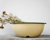 Vintage Shabby Creme And Green Enamel Mixing Bowl