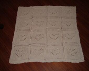 Crocheted White Heart Baby Blanket