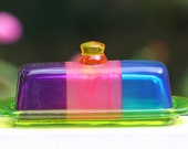 Colorful Glass Butter Dish for your Kitchen, Dining Room, Home Decor, Tabletop, Serving Dish, Fused Glass by Funktini