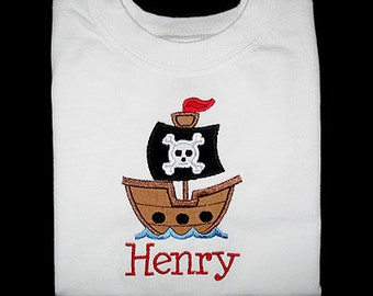 Custom Personalized Applique PIRATE SHIP and NAME Bodysuit or Shirt - Red, Black, and Brown