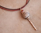 Necklace : Wooly Mammoth Bone on Leather