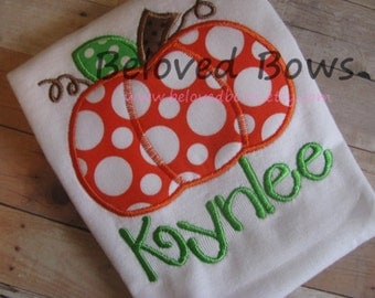 Chunky Pumpkin Applique Ruffle Shirt--Fall/Thanksgiving--Personalized